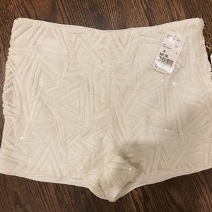 Forever 21 White Sequin Shorts - NWT